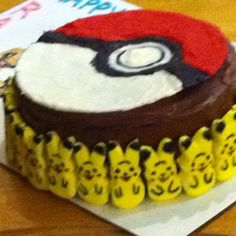 Pokemon cake are those bunny peeps? maybe colored with food safe markers?