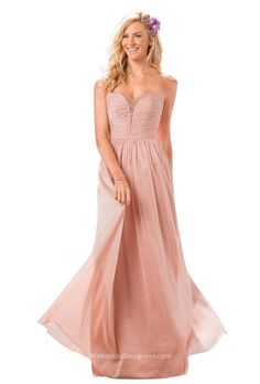 This floor length vintage blush bridesmaid dress accented with pleated strapless bodice with sheer beaded cleavage at center for added sparkles. A-line skirt with layered chiffon finishing off the look. Zip back.