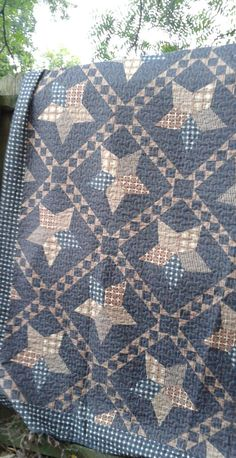 Primitive Virah Bella Quilt Collection w/ 2 Pillow Shams-Very Dark Muted colors