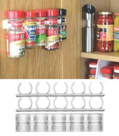 SpiceStor Organizer Rack 20 Cabinet Door Spice Clips: Kitchen & Dining