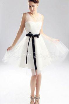 Tulle A line V Neck Natural Waist Knee Length With Sash/Ribbon Sleeveless Wedding Dress