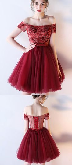 Dark Red Off the Shoulder Short Prom Dress with belt, Short Beading Homecoming Dress N777 #Simibridaldresses #homecomingdress #prom #short #offshoulder #beading #tulle #girl #dress #graduation