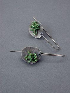 oxidized sterling earrings art jewelry modern by jaimejofisher, $105.00