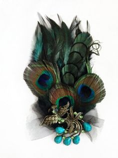 Peacock Feather Pad Fascinator Tulle Teal Brooch Hair Clip Wedding Party by YoungSparkleandShine on Etsy https://www.etsy.com/listing/200648941/peacock-feather-pad-fascinator-tulle