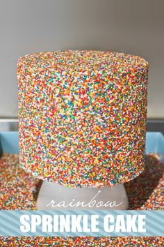 How to make a sprinkle cake! Learn how to cover the sides of a cake in sprinkles with a step by step tutorial.