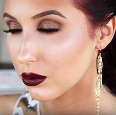 Autumn Bronze Eye Look With Dark Oxblood Lips