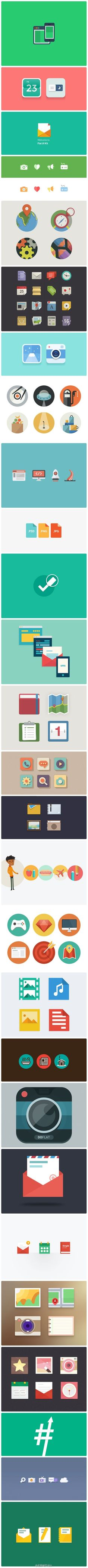 MANY ways to use color, texture, margin, etc in illustrations/icons.