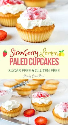 These strawberry lemon paleo cupcakes have a great fluffy rich texture and a sweet fruity flavor with a slight tang from the lemon. Paleo Cupcakes, Sugar Free Cupcakes, Sugar Free Treats, Gluten Free Treats, Sugar Free Desserts, Sugar Free Recipes, Gluten Free Baking, Gluten Free Desserts, Just Desserts
