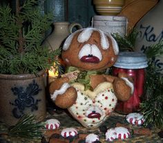 Primitive Patti's Ratties Gingerbread Cookie Doll Snowman Frosty Christmas Bear