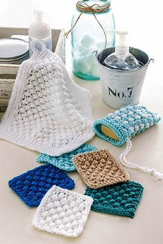 Knitting Pattern for Easy Berry Scrubbies Set - Wash cloths in 2 sizes and soap sack knit with the berry or trinity stitch. Size: Mini: 3 x 3 Washcloth: x Soap sack: x 5 Rated easy by designer. Dishcloth Knitting Patterns, Knit Dishcloth, Loom Knitting, Knit Patterns, Free Knitting, Knifty Knitter, Dress Patterns, Annie's Crochet, Crochet Crafts