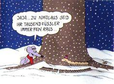 Kerstmis met Uli Stein - Gezegden - # Sayings - Food Site Christmas Cartoons, Christmas Humor, Winter Christmas, Cartoon Memes, Cartoon Pics, Wonder Zoo, Winter Illustration, Funny Xmas, Felt Baby