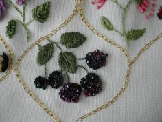 berry embroidery with beads