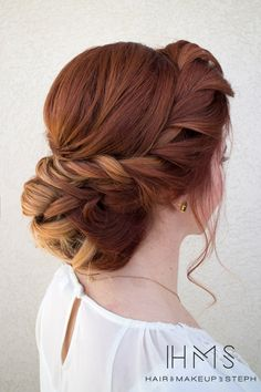 about Hair & Makeup by Steph # about … - Wedding Hairstyles Wedding Hair And Makeup, Hair Makeup, Makeup Hairstyle, Hairstyle Ideas, Red Hair Updo, Easy Hairstyle, Red Hair Upstyles, Braided Wedding Hair, Red Wedding Hair