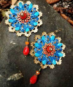 Jewels created for my dear friend.  #christinaanastasia #original #artistsoninstagram #earrings #alphonsemucha inspired #colorful #red #festive #earringsforsale #accessories #californiagirl