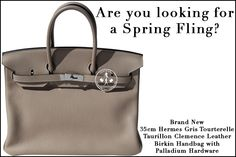 35cm Hermès Gris Tourterelle Taurillon Clemence Leather Birkin Handbag with Palladium Hardware - Are you looking for a Spring Fling?
