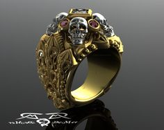 Steampunk - Gothic skull and reliquary memento mori mens ring in solid gold with princess cut diamond and natural marsala ruby cathedral rockstar. by DeMerJewelry White Gold, Skull Jewelry, Gothic Jewelry, Men's Jewelry, Memento Mori, Estilo Cool, Conflict Free Diamonds, Princess Cut Diamonds, Bracelets
