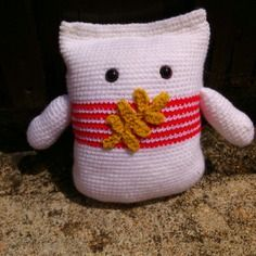 Doudou sac de farine en laine au crochet
