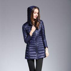 215d9fc0f13b0 Winter Ultra Light Down Jacket Hooded Long Female Down Coats Long Sleeve  Thin Slim Jacket 90
