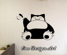 Snorlax Sleeping Pokemon wall decal anime cartoon by OneDesignArt