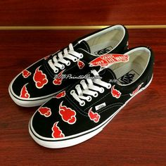 Lace Up Black Vans Custom Anime Naruto Akatsuki Design Hand Painted Canvas Shoes for Men Women Custom Design Vans Shoes Online Mens Canvas Shoes, Painted Canvas Shoes, Painted Vans, Hand Painted, On Shoes, Me Too Shoes, Naruto Shoes, Naruto Clothing, Naruto Merchandise