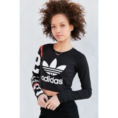 adidas Originals Basketball Numbers Long-Sleeve Tee ($35) ❤ liked on Polyvore featuring tops, t-shirts, black, crew-neck tee, long sleeve crop top, long sleeve tee, raglan tee and crop top