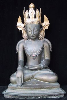 "Bhumisparsa mudra, ""calling the earth to witness"". Arakarn Bronze Seated Buddha, Myanmar, 15-17th century."