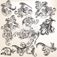Collection of vector decorative vintage swirls for design Royalty Free Stock Vector Art Illustration
