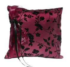 Goth Victorian Burgundy and Black Pillow