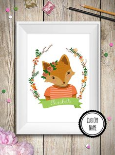 (THIS IS FROM ELIZABETHS PINS)  Fox baby wall art personalized name fox theme by aCupOfCreativity