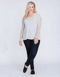 Mesh isn't just for activewear. Wear this mixed-fabric top that's half sporty and edgy, half totally comfy. Scoop neck. lanebryant.com