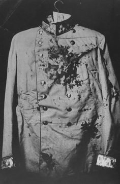Le manteau ensanglanté de l'archiduc Franz Ferdinand, assassiné en 1914, le déclenchement de la Première Guerre mondiale. D'un homme ... descendant mille veines d'alliances, de millions de morts, gelés, affamés. Il est un enfer d'un manteau.