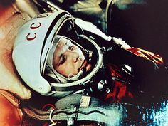 Russian cosmonaut Yuri Gagarin sits decked out in his flight suit in a photograph taken in 1961, the same year he became the first human to fly in space.