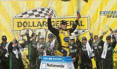wins the NASCAR Nationwide race at Chicagoland! Ricky Stenhouse Jr, Ford Fusion, Car And Driver, Nascar, Race Cars, Sleep, Racing, Baseball Cards, Live