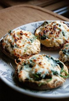 Hummus Melts - use portabellos instead of English muffins for low carb option