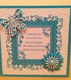 Card using tattered lace embossing folder and die and spellbinders die