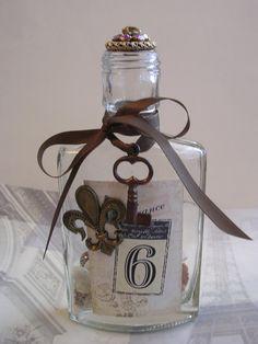 Vintage Decorated Bottle France Key Charm Fleur de by tuscanroad, $22.00
