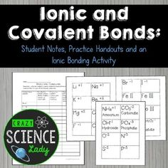 Ionic and Covalent Bonding Worksheet with Key Covalent