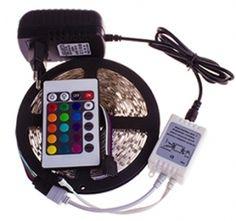 RGB-valonauhasetti verkkopistokkeella 5m, 20W, kuivaan tilaan