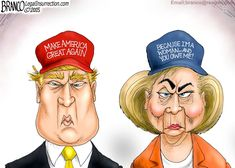 Hillary Clinton and Donald Trump are not so much two Episode 139 Trump Vs Clinton, Trump Vs Hillary, Vote Trump, Donald Trump, Political Satire, Political Cartoons, Political Campaign, Wall Street, Le Pilates