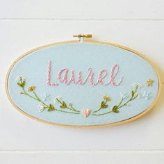 Baby Name Embroidery Hoop Art, Baby Shower Gift, Hand Stitched Art, Cotton Gift, Personalized Art, Embroidered Name