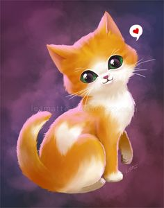 My Valentine cat from leamatte. on - Katzen - I Love Cats, Crazy Cats, Cute Cats, Cute Baby Animals, Animals And Pets, Kittens Cutest, Cats And Kittens, Desenhos Love, Cute Animal Drawings
