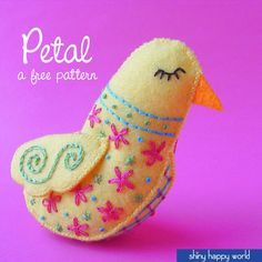 Sign up for the Shiny Happy Newsletter and get this pretty free felt bird pattern - plus access to 12 other exclusive free patterns just for members!