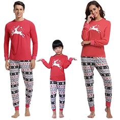 6b468a1b9 Aibrou Conjunto Familia Navidad Divertidos 100% Algodón y Conjunto de  Pijama de Manga Larga