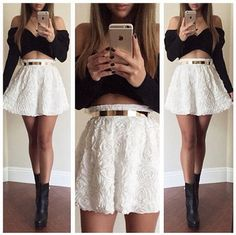 2015 Black White Off Shoulder Cross Bandage New Two Pieces Set Women Sexy Flower Lace Night Party Outfits Skirt And Top Dress