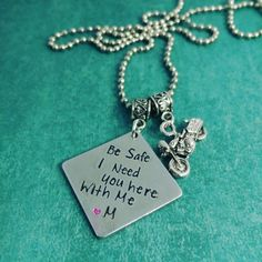 Be safe I need you here with me - Motorcycle Necklace - Harley Davidson - pinned by pin4etsy.com