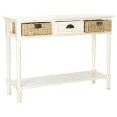 "Add a cottage-chic touch to your entryway or living room with this charming console table, showcasing a white finish and 2 woven basket drawers.   Product: Console tableConstruction Material: Pine wood, engineered wood and wood veneersColor: WhiteFeatures:  Two drawersWoven basket designDimensions: 32"" H x 44"" W x 14"" D"