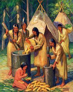Native Americans Preparing Corn