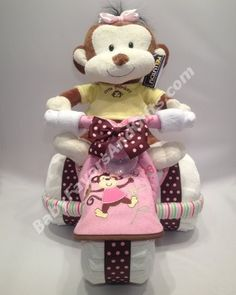 Little Monkey Tricycle Diaper Cake for Girl