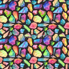 아름 다운 크리스탈 패턴, 다채로운 수채화 보석 패턴 — 스톡 사진 © Vasilek #68741403