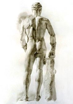 Large Back with Side Light (watercolor on Rives BFK paper, 2005) – Wendy Artin (American, b.1963)